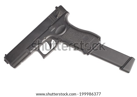 automatic handgun isolated on a white background - stock photo