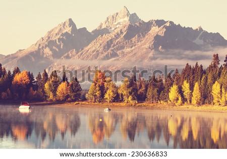Autumn in Grand Teton National Park, Wyoming - stock photo