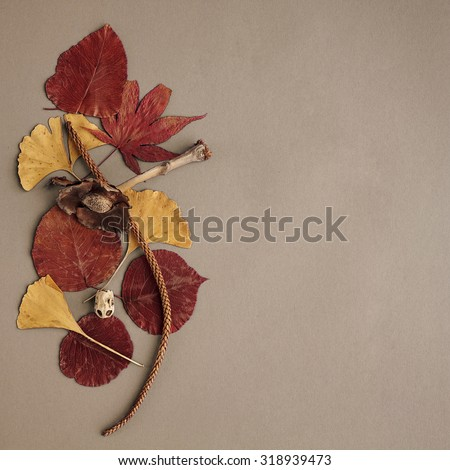 Autumn leaves on the grey background,free space for text - stock photo