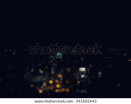 Autumn rainy night city outside                               - stock photo