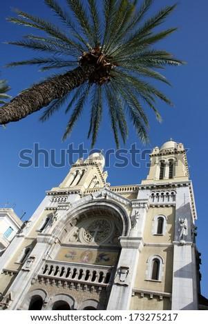 Avenue Habib Bourguiba, Cathedral of St Vincent de Paul in Tunis,Tunisia. - stock photo