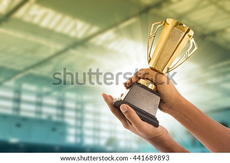 Award Trophy for winner achievement after win competition  - stock photo