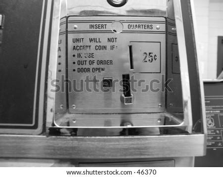 ( B&W ) Washer Coin Slot - stock photo