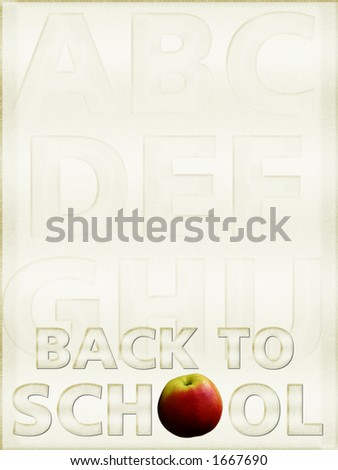 """""""Back to School"""" background, parchment, with alphabet - stock photo"""