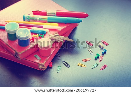 """""""Back to school"""" concept on vintage background - stock photo"""