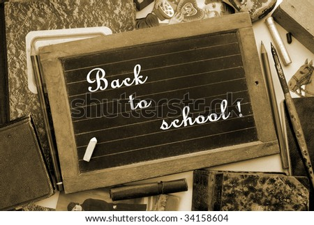 """""""Back to school!"""" in vintage style, sepia toned - stock photo"""