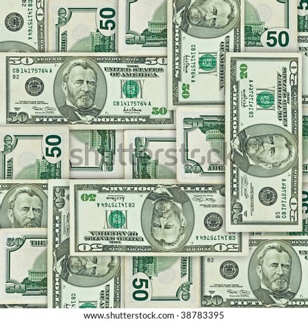 background from different sides of fifty U.S. dollars - stock photo