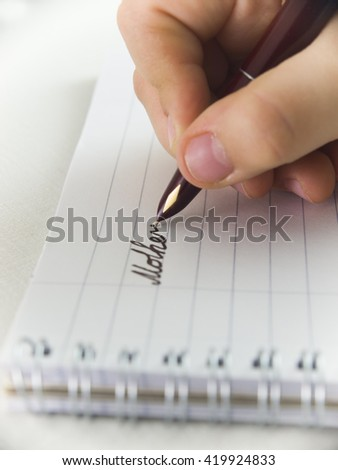 Background, hand holding the handle and to prepare to write a word Mother's Day - stock photo