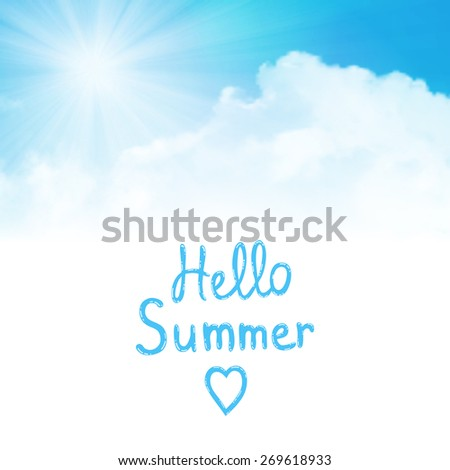 background,hello summer, sun over clouds - stock photo