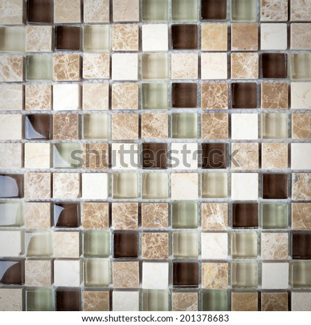 Background of  Mosaic Stone.  Mosaic surface of natural stones  - stock photo