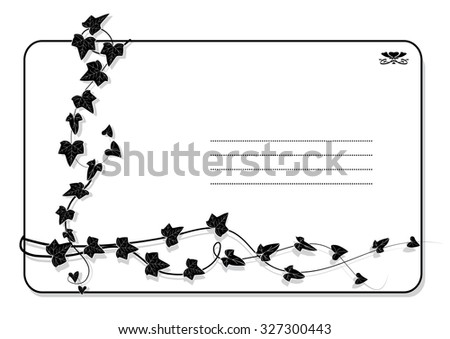 background with branch of ivy in black and white colors - stock photo