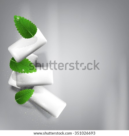 background with bubble gum isolated on a gray background with leaves of fresh mint (imitation 3d) - stock photo