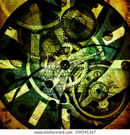 background with clock mechanism - stock photo