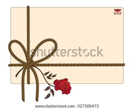 background with rope and red rose - stock photo