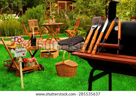 Backyard  BBQ Grill Party Or Picnic Concept - stock photo
