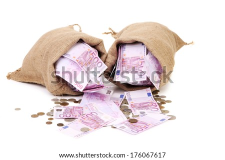 Bag of euro and coins. isolated on a white background - stock photo