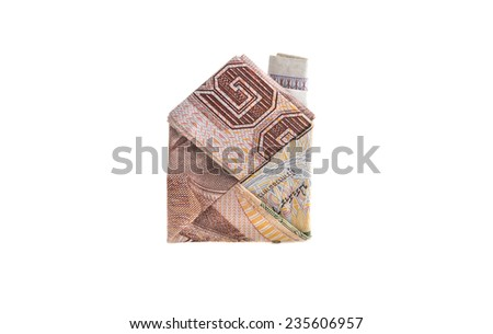 1000 Baht home origami of banknote of Thai currency - stock photo