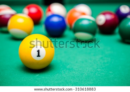 1 Ball from pool or billiards on a billiard table - stock photo