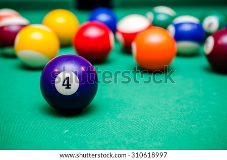 4 Ball from pool or billiards on a billiard table - stock photo