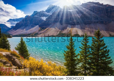 Banff National Park in the Canadian Rockies. The mountain glacial Bow Lake with green water. The lake is surrounded by pine trees - stock photo