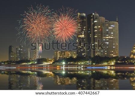 Bangkok city downtown at twilight, Bangkok,Thailand - stock photo