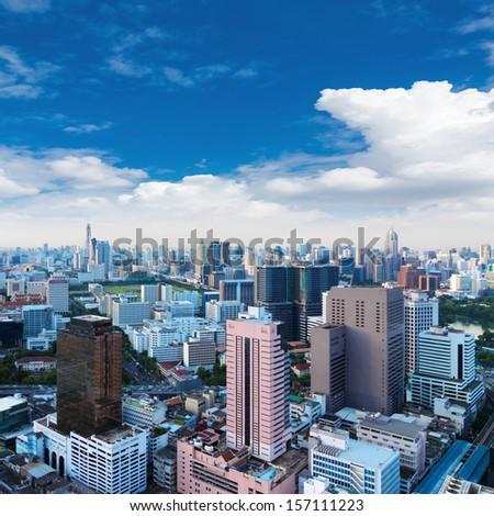 bangkok city view in the business district, Daytime sky. - stock photo