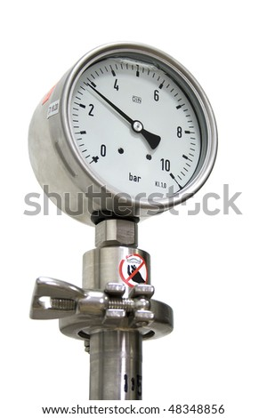 10Bar pressure guage isolated on white. - stock photo