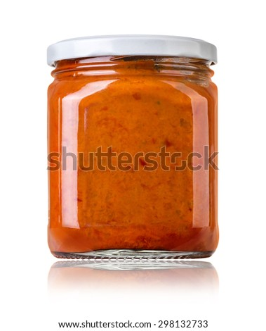 barbecue sauces in glass bottles with clipping path - stock photo