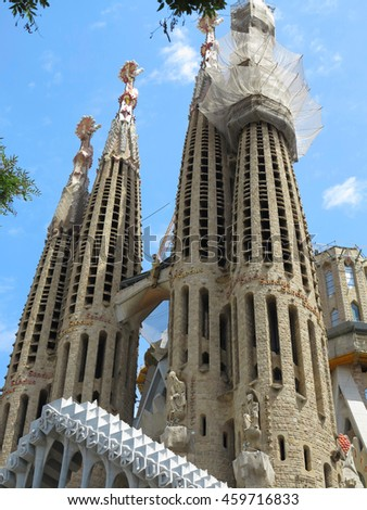 05.07.2016, Barcelona, Spain: Sagrada Familia church under construction with building cranes. - stock photo