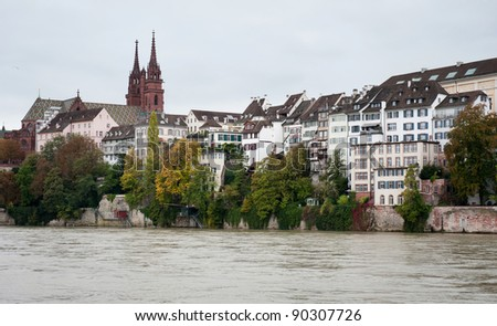 Basel Munster church above Rhine river in Basel, Switzerland - stock photo