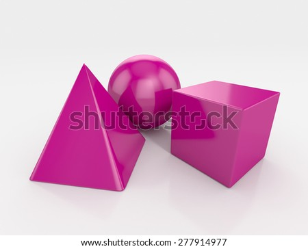 3 basic geometrical shapes. 3d illustration isolated - stock photo