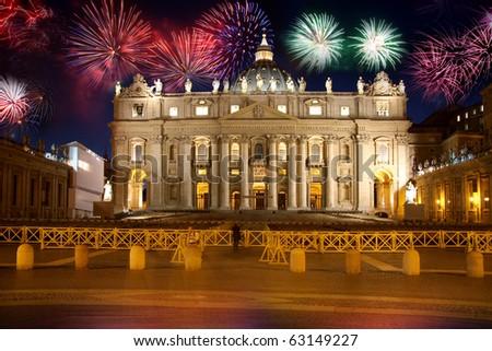 Basilica di San Pietro, Vatican, firework, new year, Rome, Italy - stock photo
