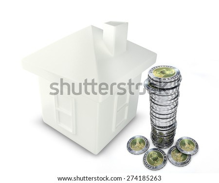10 Bath coins falling down into a piggy bank in the form of a gilded house as a symbol of the accumulation - stock photo