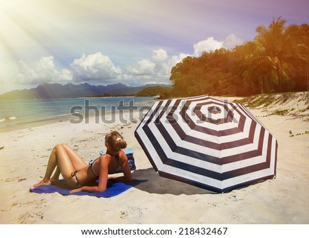 Beach scene. Langkawi island, Malayisa - stock photo