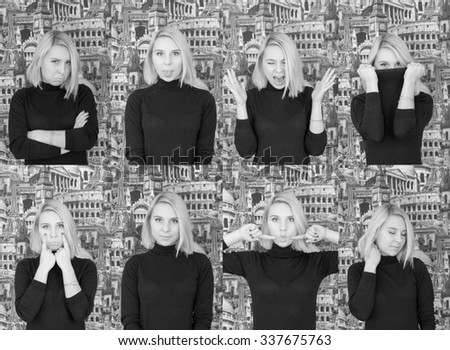 Beautiful blonde girl with short hair  is showing her emotions. This picture shows how emoji will look in real life. black and white photo - stock photo
