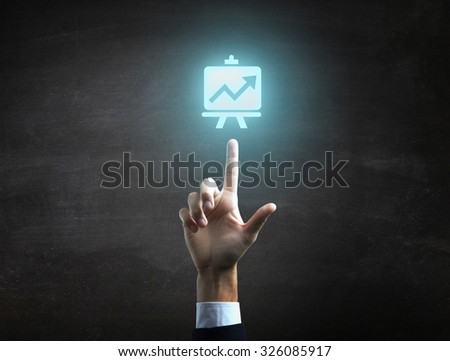 beautiful Business male hand indicating statistic finance icon. - stock photo