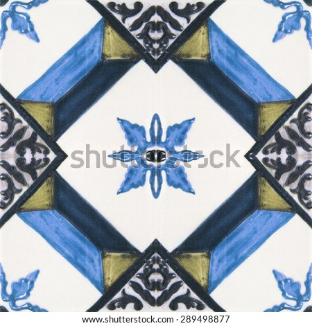 Beautiful ceramic tiles patterns handcraft from thailand In the park public.