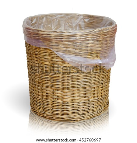 Beautiful Empty wicker basket. Isolate on white background. This has clipping path.                               - stock photo