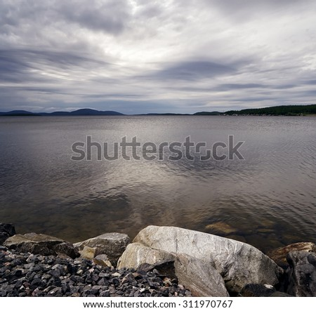 Beautiful lake in the North of Russia - stock photo