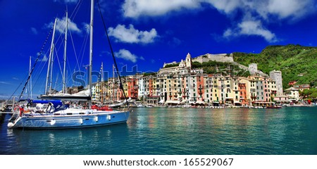 Beautiful Ligurian coast of Italy .Portovenere. Cinque terre  - stock photo