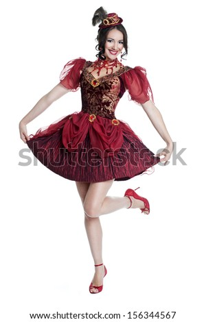 Beautiful queen in royal dress. Costume party. Halloween. Carnival costume - stock photo