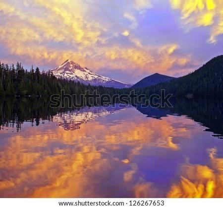 Beautiful Sunset At Lost Lake Oregon - stock photo