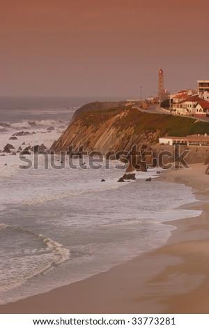 Beautiful view of Sao Pedro de Moel on Silver Coast in Portugal - stock photo