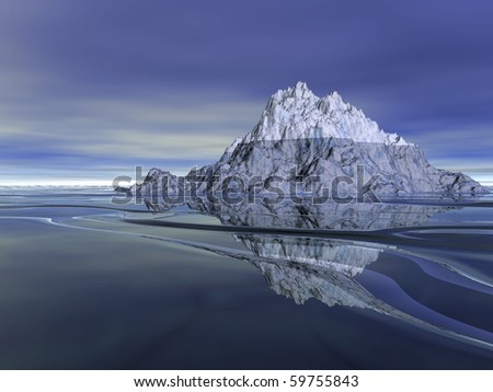 Beautiful white mountain and ocean rendered in Bryce. - stock photo