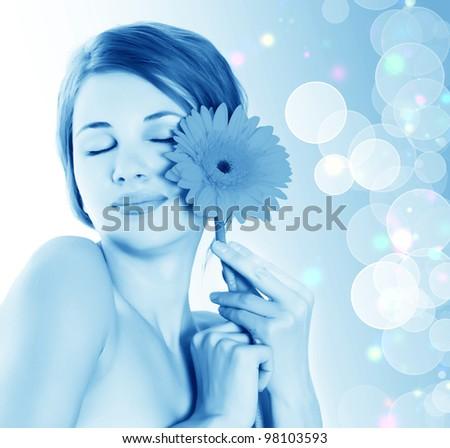 beautiful woman on a light background. spa set - stock photo