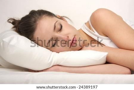 beautiful woman sleep - stock photo