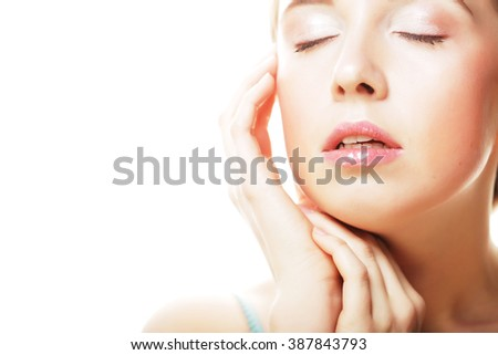 beautiful young girl with clean skin - stock photo