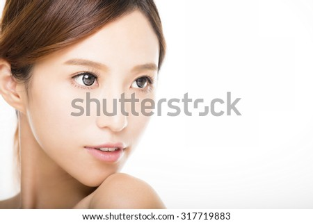 beautiful young smiling  woman with clean face  - stock photo