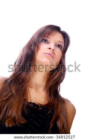 beautiful young woman portrait on white - stock photo