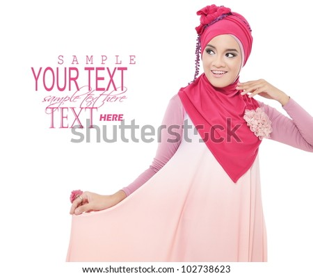 beautiful young woman with a pink hijab, isolated on white background - stock photo
